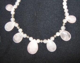 ROSE QUARTZ NECKLACE 20 inches long natural rose quartz necklace