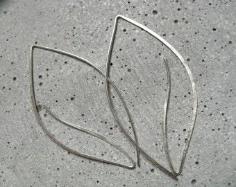 Luna leaf oversized silver earrings, modern statement earrings, silver thread through earrings, contemporary minimalist hoops