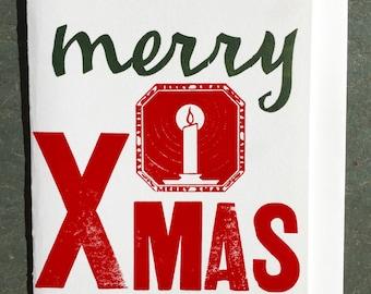 Merry Xmas Letterpress Greeting Card