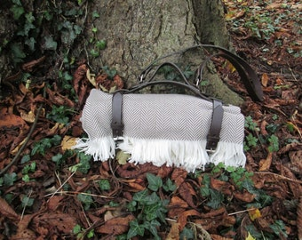 Handcrafted Spanish Leather Blanket Carrier With Removable Shoulder Strap