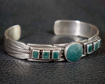 Navajo Turquoise Silver Feather Bracelet