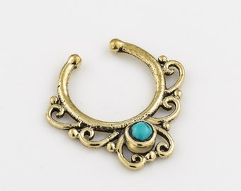 Septum clip. fake septum ring. septum cuff. septum ring. turquoise septum ring. tribal septum. faux septum. fake septum piercing. turquoise.