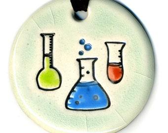 Chemistry Flasks Ceramic Necklace In Crackle