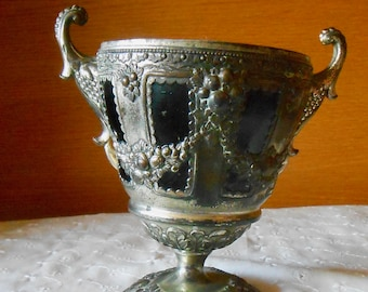Antique Silver Plated CHALICE (Built Tipsy) - Made in Japan