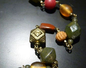 """Multi-beaded 28"""" Necklace with Lobster Clasp -- Jasper -- Non-magnetic Silver pieces --"""