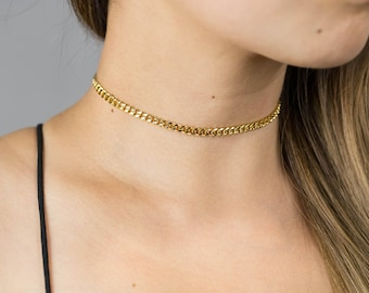Thick Gold Chain Choker / Statement Choker Necklace / Thick Gold Choker / Gold Statement Necklace / 90s Choker / Thick Choker
