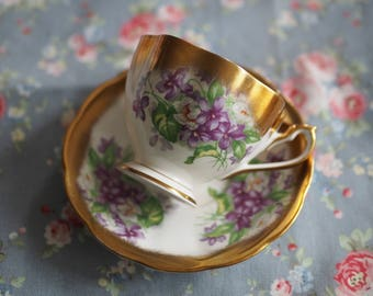 Queen anne violet vintage tea cup