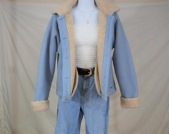 VTG 90s does 70s Baby Blue Fleece / Shearling Jacket