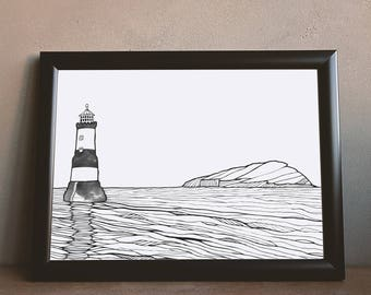 Lighthouse Puffin Island Print   Adventure   Outdoors   Sea Art   Ocean Drawing