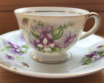 Tiny Violet Tea Cup and Saucer, Vintage Lefton made in Japan