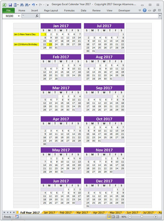 2017 Excel Calendar Template 2017 Monthly Calendar and 2017
