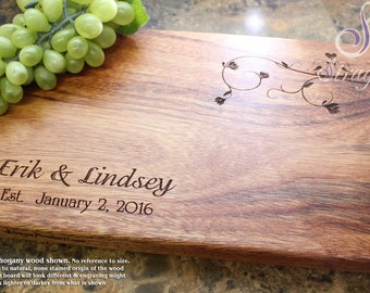 Personalized Cutting Board, Custom Cutting Board, Engraved Cutting Board, Love Birds, Wedding Gift, Gift for Couple. 407