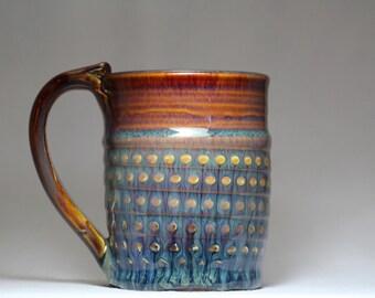 stoneware tea cup, 12oz pottery mug, pottery coffee cup