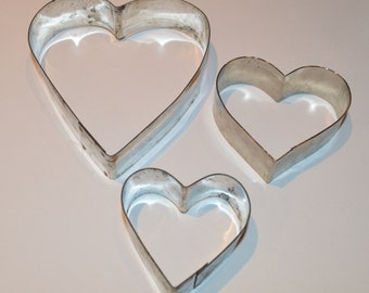 Vintage Metal Heart Cookie Cutters