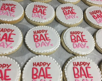 Happy bae day valentines cookies