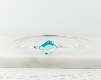 Aquamarine Sterling Silver Bangle, March Birthstone Silver Bracelet, March Gift, Sterling Silver Bracelet, Aquamarine Bangle Bracelet