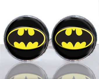 Batman Classic Round Glass Tile Cuff Links