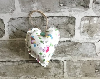 Lavender sachet, heart decoration, hanging heart, scented heart, bird gift, lavender scented, home decor, scented gift, lavender heart