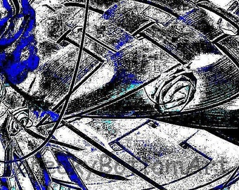 Blue and Gray Abstract No 1, Add a splash of color to any room with this unique digital print available only from CreakyBottomArt.