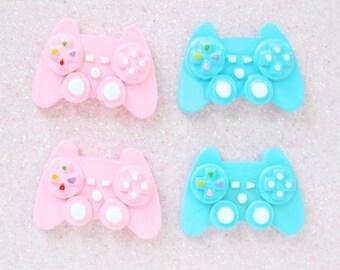 30mm Kawaii Blue and Pink Gamer Video Game Controller Flatback Resin Decoden Cabochon - 4 piece set