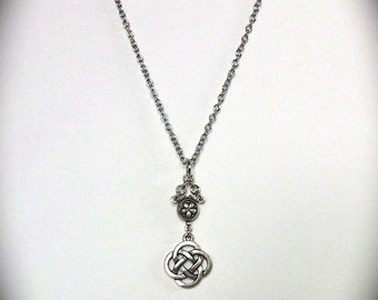 Celtic Love Knot Necklace, Silver Pendant, Floral Rosary Necklace, Outlander Inspired, Eternity Knot, Bridal Jewelry