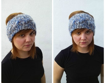 Blue and grey wool and mohair headband, winter headband, blue headband, mohair headband, wool headband, cabled headband, wool and mohair