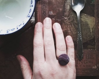 Purple Statement Ring, Cocktail Ring Made from a Vintage Button, Unique Jewelry for Women, Boho Purple Ring