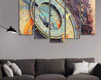LARGE XL Astronomical Clock in Town Hall in Prague, Czech Republic Canvas Print Astrology Canvas Wall Art Print Home Decoration - Stretched