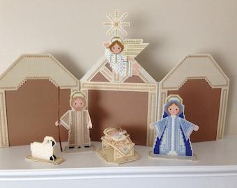 Cross Stitch Nativity Scene (6 piece set)