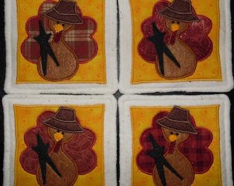 Primitive Whimsical Fall Autumn Thanksgiving TURKEY Coasters Mug Mats Hot Pads Trivets