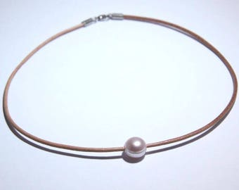Freshwater Lavender Pink Pearl Surfer Leather Necklace - S078