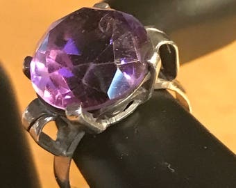 Vintage Amethyst Sterling Silver Ring Size 6.75