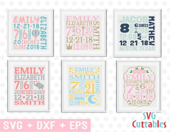 baby birth announcement bundle svg dxf eps baby stats