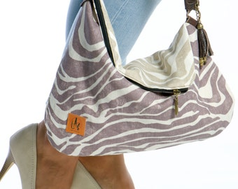 Hobo bag, hobo woman handbag, linen bag, woman messenger bag, zebra bag, woman shoulder bag, messenger handbag, zebra print woman