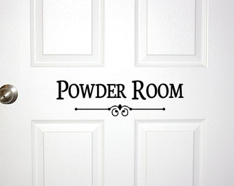 Awesome Powder Room Door Or Wall Decal   Decorative Powder Room Sign Bathroom Bath  Room Guest Shower