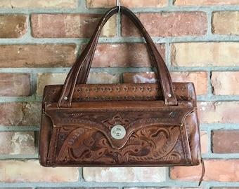 1960s Tooled Leather Flores Handbag
