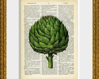 ARTICHOKE recycled book page art print - antique dictionary page with a food illustration - upcycled kitchen vintage, wall art
