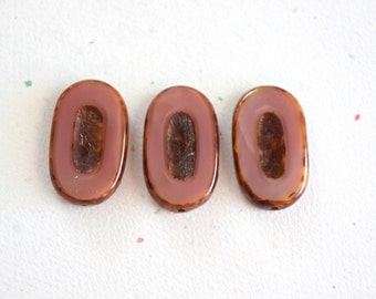 Carved Flat Oval Pink Picasso Czech Glass Rustic 26x15mm Beads - 3 Pieces (F001)