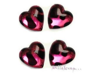 Set of 5 rhinestone hearts leopard pink embellishment scrapbooking *.