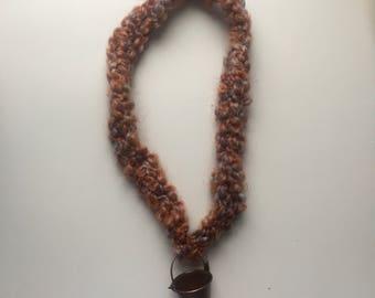 crochet bucket necklace, coral