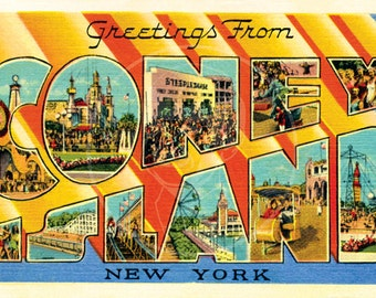 Island greeting etsy greetings from coney island style 1 10x16 gicle canvas print of vintage postcard m4hsunfo