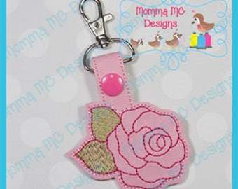 Rose Key Fob Snap Tab Machine Embroidery Design