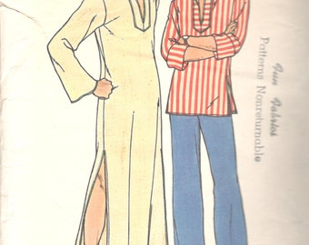 Butterick 3625 1970s MENS Pullover Caftan Shirt Pattern EASY Adult Vintage Sewing Pattern Size Medium Chest 38 40