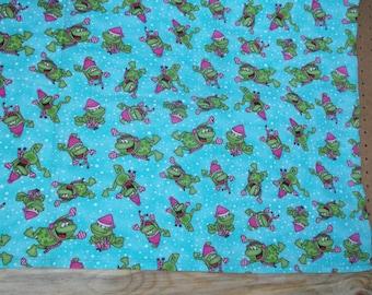 Large Flannel Receiving Blanket - Winter Frogs