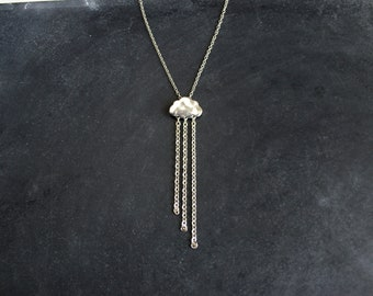 Silver Cloud Necklace, Lariat Style Pendant
