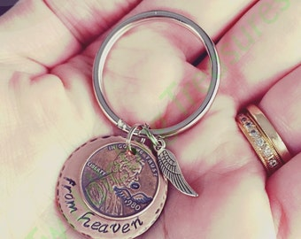 Penny from Heaven- Penny from Heaven Key Chain - Hand Stamped - Penny