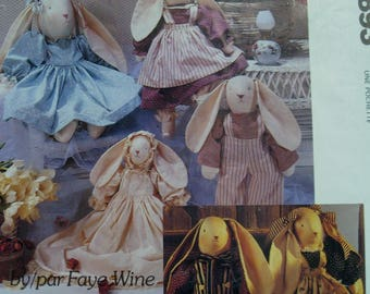 "Stuffed Bunnies Sewing Pattern, with Clothes, Country Rabbits, 3 sizes, Faye Wine, McCalls 893/ 3760 Sizes 14"" -25"" (36 -64cm)"