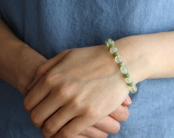 Multi Gemstone Bracelet with Prehnite, Peridot, and Green Garnet NEW