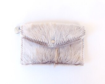 Grey Leather Wallet - Gray and White Hair on Hide Wallet - Light Gray Pony Hair Travel Wallet - Grey Fur Clutch