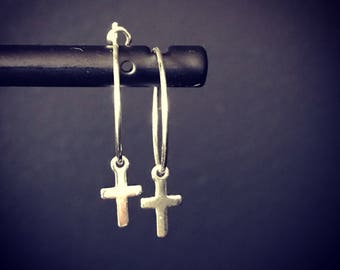 MATHILDE cross 925 sterling silver hoop earrings